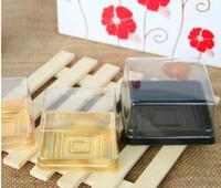 лоток для лунного пирога оптовых-Оптовая торговля,бесплатная доставка, 50 г Луна торт лотки Луна торт упаковочной коробки пластик снизу прозрачная крышка золото