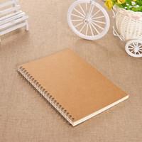 livros venda por atacado-Notebook Retro Estilo A5 Coil Book Papelaria Estudante Caderno Diário Homework Esboço Prática Escritório Notepad Cor Sólida 3 25qf F R