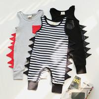 Wholesale Child Size Harem Pants - Ins Baby Romper Dinosaur Rompers Boy's Animal Jumpsuit Harem Pants Toddler Infant Outwear Kids Clothes Children Clothing Sets