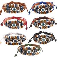 глазной браслет оптовых-7 Стиль старинные сглаза браслет многослойная натуральная воловья кожа браслет манжеты Браслет из бисера турецкие ювелирные изделия Braclet B907S