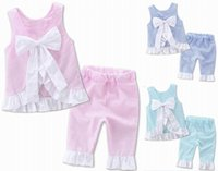 Wholesale New Childrens Clothes - 2017 lovely new baby girls clothing cotton set Backless bow sleeveless shirt+pants 2 pcs childrens clothes suit for summer E17109