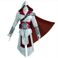 Wholesale Japanese Costume Male - OISK Best Quality Ezio Auditore da Firenze Cosplay Assassins Creed Discovery Brotherhood And Revelations Costume Japanese Anime Cosplay