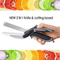 Wholesale Wholesale Kitchen Cutting Boards - Kitchen Clever Smart Cutter 2 in 1 Knife Cutting Board Scissors Accessories Food Cheese Meat Vegetable Stainless Steel Cutter CCA6388 50pcs