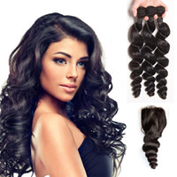 Wholesale More Wavy Virgin Hair - Mink 7A Brazilian Human Hair Loose Wave With Closure Remy Brazilian Loose Curly Hair Weave 3 Bundles With Closure More Wavy