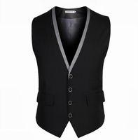 Wholesale Wedding Suit Grey Waistcoat - Wholesale- Men Suit Vest Black Grey 4 Buttons V Collar Classic Dress Slim Fit Vests Male Sleeveless Brand Mens Formal Wedding Waistcoat 3XL