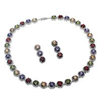 conjunto de joyas esmeralda 925 al por mayor-Conjuntos de joyas de piedras preciosas naturales Collar Pendientes Plata de ley 925 Zafiro Cereza Rubí Cubic Zirconia Esmeralda Mujeres Bonitos regalos