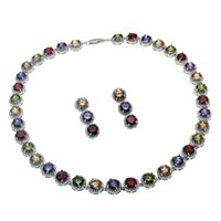 Wholesale Natural Gemstone Necklace Sets - Natural Gemstone Jewelry Sets Necklace Earrings 925 Sterling Silver Sapphire Cherry Ruby Cubic Zirconia Emerald Women Nice Gifts