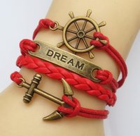 Wholesale Antique Picking - Wholesale- Jewelry Fashion Vintage Anchor Antique Brass Leather Cute Infinity Charm Bracelet U Pick