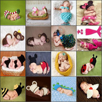 Wholesale Newborn Baby Animal Costumes - Baby Newborn Nursling Cap Photo Photography Props Hats Costume Handmade Crochet Knitted Set Cartoon Animal Beanie Infant Outfits Mix Styles
