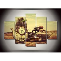 Wholesale Hd Car Pictures - 5 Pieces HD Classic Old Car Landscape Canvas Painting Home Wall Art Decoration Oil Painting for Living Room(No Frame)