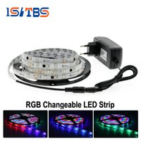 Nouvelle lampe de LED modifiable 5050/2835 RGB DC12V 5M Neon Tape TV Éclairage de fond + 12V 3A Power Adapter