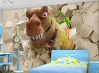 Wholesale Tv Wall Decoration - Custom photo wallpaper large murals dinosaurs broken wall three - dimensional naked eye 3D TV background decoration