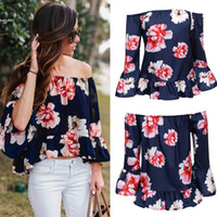 Wholesale Loose Off Shoulder Tops - Tops For Women Fashion Sexy Off Shoulder Floral Ruffles Blouse Top Plus Size Loose 3 4 Sleeve For Casual Beach Clubwear