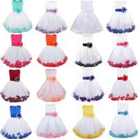 Wholesale Infant Orange Summer Dresses - Kids Infant Girl Flower Petals Dress Children Bridesmaid Toddler Elegant Dress Pageant Vestido Infantil Tulle Formal Party Dress