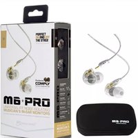 Wholesale White Pro Headphones - MEE Audio M6 PRO Noise Cancelling 3.5mm HiFi In-Ear Monitor Earphone With Detachable Cable Sports Wired Headphone DHL Free Ship