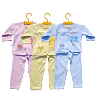 Wholesale Girls Butterfly Underwear - Wholesale- 1 Set Full Sleeve Underwear Pants Suit Set Baby Cute Cotton Clothing Boy Girl Yellow Pink Light Blue Bear Cartoon Butterfly