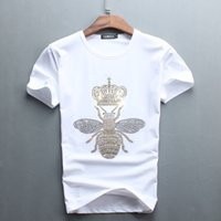 Wholesale Drill Shirts - 5 Colors Summer Men T shirts Little Bee Hot Drilling Crew Neck Cotton Tops Tees Size M-4XL Short sleeve T shirts