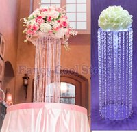 Wholesale Tall Crystal Flower Stands - 50CM Tall Wedding acrylic crystal Table Centerpiece Flower Stand Table decor wedding props 10pcs lot
