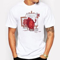 Campeggio Escursionismo T shirt uomo Carino Love Heart Cartoon T-shirt Stampa bianca manica corta Fitness divertente Hipster tee shirt homme de marque