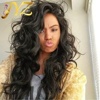 Wholesale body dark - Wholesale 130% Density Human Hair Wigs Wave Lace Front Wigs With Baby Hair Brazilian Body Wave Human Hair Wigs