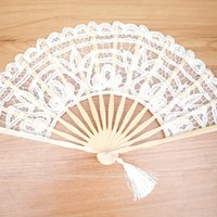 Wholesale Lace Hand Fans Wholesale - White Lace Folding Fan Handmade hand fans Cotton Lace Embroidered with Bamboo Frame Women Hand Held Fans for Cosplay Wedding Props