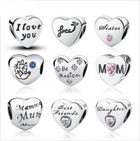 Wholesale 2017 Newest Genuine Sterling Silver Alphabet Letters Heart Charm Beads for Women Fit Pandora Charms Bracelet DIY Jewelry Making