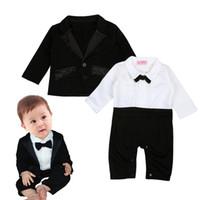 Wholesale Gentleman Photo - Baby boys Little Gentlemen Romper 2pc set Infants turn-down collar Bow romper+suit coat kids outfits photo costume for 1-2T
