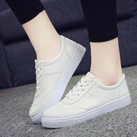 Wholesale Wholesale Fashion Korean Sneakers - womens shoes new Korean leather fashion pu leather sport new casual trainers sneakers DHL free shipping