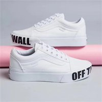 Vanse Old Skool Platform Casual para Escola Classic Letters Jointly Signed Ponge Cake Deep Sole Sapatos de couro para meninas Boys Sneakers