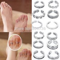 Wholesale Simple Flower Engagement Rings - 12pcs Wholesale Mix Celebrity Fashion Simple Retro Carved Flower Adjustable Toe Ring Foot Women Jewelry Drop Free