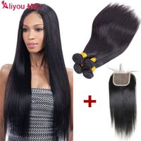 Wholesale Malaysian Straight Bundles - Aliyou Malaysian Straight Virgin Hair Bundles with Closure Wholesale 100% Unprocessed Human Hair Extensions 4pc with 4x4 Lace Weaves Closure
