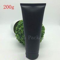 Wholesale Cosmetic Lotion Packages - 150G 200G Empty Black Soft Refillable Plastic Lotion Tubes Squeeze Cosmetic Packaging, Cream Tube Screw Lids Bottle Container