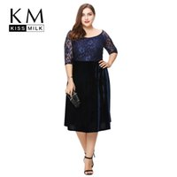 Wholesale Bardot Dress - Kissmilk Plus Size Fashion Women Clothing Elegant Lace Patchwork Ladies Dress Bardot Full Big Size Midi Dress 3XL 4XL 5XL 6XL 7413