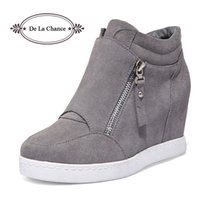 Atacado- Black Grey Women Shoes Platform 2016 Heated Heel Wedge Boots Sapatos para Mulheres High Heel Top Suede Casual Ladies Shoes Size 35-39