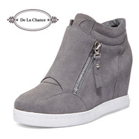 Chaussures Gris Pour Femmes Pas Cher-Wholesale- Black Grey Women Shoes Platform 2016 Hidden Heel Wedge Boots Chaussures Pour Femmes High Heel Top Suede Casual Ladies Shoes Taille 35-39