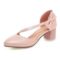 Wholesale Comfortable Career Shoes For Women - Sweet pink pumps with bowtie and square heel comfortable and hot selling shoes for fashion women PP137