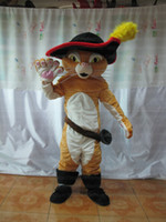 Wholesale Mascot Puss Boots - High quality Puss The Boots Cat Mascot Costumes Cartoon Character Costume Adult Fancy Dress Halloween carnival costumes Free Shipping