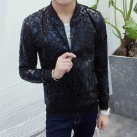 Wholesale Korean Slim Leather Jacket - Wholesale- New 2016 autumn thin leopard print leather causal jacket men korean fashion men jacket slim fit veste homme men's clothing  JK4