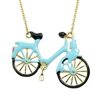 Wholesale Enamel Color Necklace - Hip Hop Jewelry Blue Color Fashion Graceful Lovely Enamel Bicycle Choker Gold Necklace Chain Women Jewelry