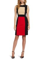 Wholesale Pencil Skirts Dresses Office - 2016 hot sale New job professional female office stitching mini skirt geometry sleeveless round neck slim women pencil skirt AMS010