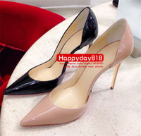 Wholesale patent leather dress boots - Free shipping fashion women pumps Black nude patent leather point toe high heels shoes boots genuine leather 120mm sexy lady cone heels