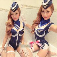 Wholesale Sexy Bar Uniforms - Nightclub uniform DS costumes sexy female air force party airline stewardess uniforms skirt OL occupation dancer singer bar