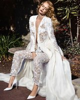 Wholesale Sexy Plus Size Jumpsuit Dress - Long Sleeves Lace jumpsuit Wedding Dresses 2017 Two In One Detachable Train Plunging Neck Pearls Chiffon Overskirt Bridal Gowns