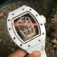 Wholesale Watches Skull Face - Free shipping white ceramic tonneau case watch mechanical movement rubber strap Pirate skull face fashion watches sport mens wristwatch