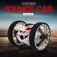 Wholesale Electric Rc Car Wheels - Wholesale- Mini Bounce Car PEG SJ88 RC Cars 4CH 2.4GHz Strong Jumping Sumo RC Car with Flexible Wheels Remote Control Robot Car for Gifts