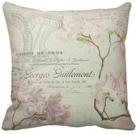"""Wholesale French Sofas - Throw Pillow Case, Pink Floral Vintage Chic French Script Home Decor Square Sofa Cushions Cover, """"16inch 18inch 20inch"""", Pack of X"""