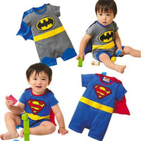 Wholesale Boys Superman Halloween Costumes - 2017 Summer Baby Superman Batman Rompers Halloween Costumes Suit Kids Jumpsuit Long Sleeve Smock Infant Romper Girl Boy Clothing Sets ROB55