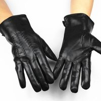 Wholesale Thin Black Leather Gloves - Wholesale- Free Shipping New Men's Leather Gloves High-grade sheepskin gloves imported fashion thin velvet lining warm autumn and winter