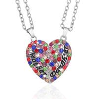 yüksek kaliteli kolye elmas toptan satış-En iyi Lüks Moda High-end Aşk Şeftali Kalp şeklinde Elmas Altı Renk Anne Kızı Kolye Kolye Iki Çift