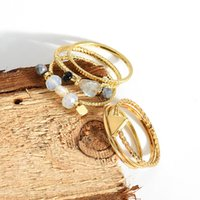 Wholesale Gift String Band - Creative Snap Street Trend Ring Character String of Natural Stone Combined Ring Set Original Design Top Quality Free Shipping 1 set=6 rings